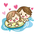 LINEスタンプランキング(StampDB) | 【動く】ゆるカップルのアツい夏?