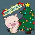 LINEスタンプランキング(StampDB) | 動く!子ブタちゃんの生活2-10 クリスマス