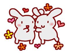 """White bunnies """"Mo-chi-u-sa"""" sticker #220569"""