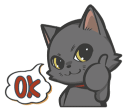 Black cat YORU sticker #228729