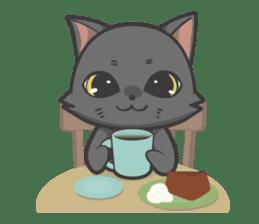 Black cat YORU sticker #228747