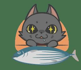 Black cat YORU sticker #228759