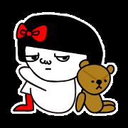 สติ๊กเกอร์ไลน์ A girl with a red ribbon 'Micchan' 2