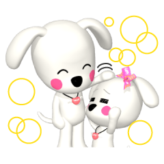 "3D WHITE DOG ""PEACE-K & HAPPY"" (1)"