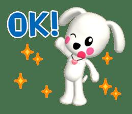"3D WHITE DOG ""PEACE-K & HAPPY"" (1) sticker #247873"