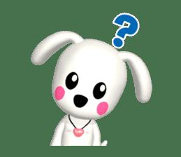 "3D WHITE DOG ""PEACE-K & HAPPY"" (1) sticker #247875"