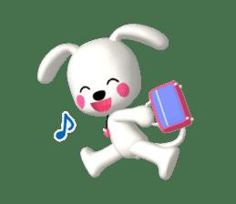 "3D WHITE DOG ""PEACE-K & HAPPY"" (1) sticker #247876"