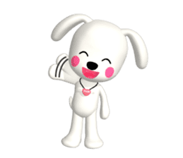 "3D WHITE DOG ""PEACE-K & HAPPY"" (1) sticker #247877"