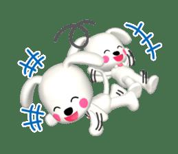 "3D WHITE DOG ""PEACE-K & HAPPY"" (1) sticker #247878"