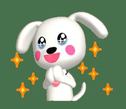 "3D WHITE DOG ""PEACE-K & HAPPY"" (1) sticker #247879"