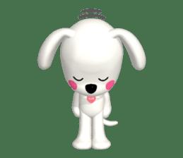 "3D WHITE DOG ""PEACE-K & HAPPY"" (1) sticker #247880"