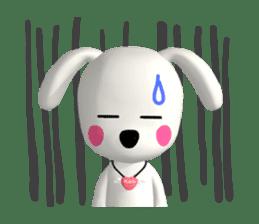 "3D WHITE DOG ""PEACE-K & HAPPY"" (1) sticker #247881"