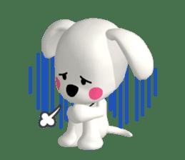 "3D WHITE DOG ""PEACE-K & HAPPY"" (1) sticker #247882"