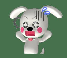 "3D WHITE DOG ""PEACE-K & HAPPY"" (1) sticker #247883"