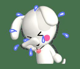 "3D WHITE DOG ""PEACE-K & HAPPY"" (1) sticker #247884"