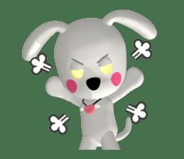 "3D WHITE DOG ""PEACE-K & HAPPY"" (1) sticker #247885"