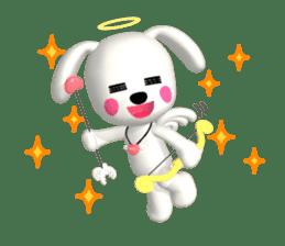 "3D WHITE DOG ""PEACE-K & HAPPY"" (1) sticker #247888"