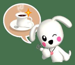 "3D WHITE DOG ""PEACE-K & HAPPY"" (1) sticker #247890"