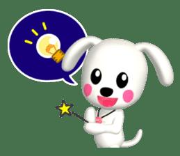 "3D WHITE DOG ""PEACE-K & HAPPY"" (1) sticker #247892"