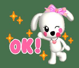 "3D WHITE DOG ""PEACE-K & HAPPY"" (1) sticker #247893"