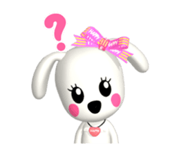 "3D WHITE DOG ""PEACE-K & HAPPY"" (1) sticker #247895"