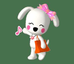 "3D WHITE DOG ""PEACE-K & HAPPY"" (1) sticker #247896"