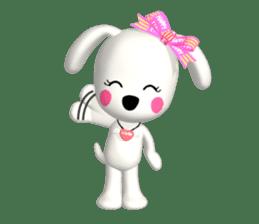 "3D WHITE DOG ""PEACE-K & HAPPY"" (1) sticker #247897"