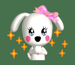 "3D WHITE DOG ""PEACE-K & HAPPY"" (1) sticker #247899"