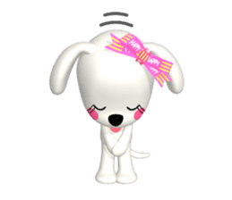 "3D WHITE DOG ""PEACE-K & HAPPY"" (1) sticker #247900"