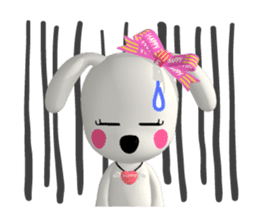 "3D WHITE DOG ""PEACE-K & HAPPY"" (1) sticker #247901"