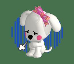 "3D WHITE DOG ""PEACE-K & HAPPY"" (1) sticker #247902"