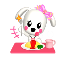 "3D WHITE DOG ""PEACE-K & HAPPY"" (1) sticker #247907"
