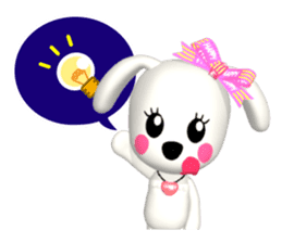"3D WHITE DOG ""PEACE-K & HAPPY"" (1) sticker #247909"