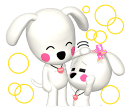 "3D WHITE DOG ""PEACE-K & HAPPY"" (1) sticker #247910"
