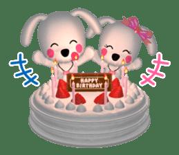 "3D WHITE DOG ""PEACE-K & HAPPY"" (1) sticker #247911"
