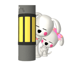 "3D WHITE DOG ""PEACE-K & HAPPY"" (1) sticker #247912"