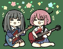 High School Girl & Guitar Stamp Box sticker #248158
