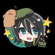 สติ๊กเกอร์ไลน์ Military Girl with Haniwa-kun
