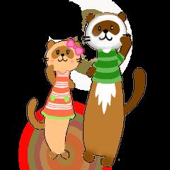 Brilliant days of cute three ferrets