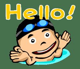 Likes swimming, a boy sticker #283265