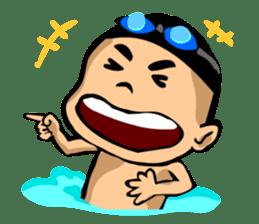 Likes swimming, a boy sticker #283267