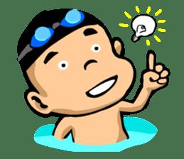 Likes swimming, a boy sticker #283281