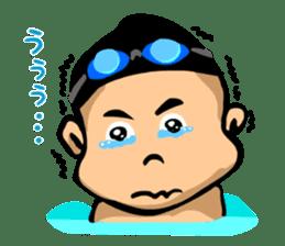 Likes swimming, a boy sticker #283291