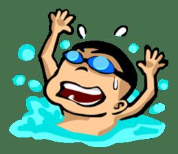 Likes swimming, a boy sticker #283297