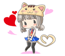 Personification girls of animal sticker #286784