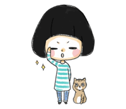 Mr.Cats and Maid girl loosely sticker sticker #313472