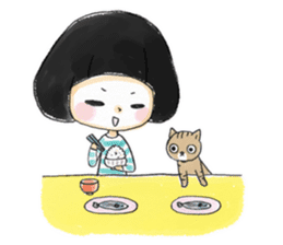 Mr.Cats and Maid girl loosely sticker sticker #313474