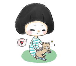 Mr.Cats and Maid girl loosely sticker sticker #313476