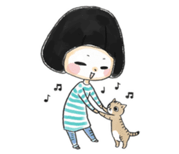Mr.Cats and Maid girl loosely sticker sticker #313484