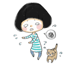Mr.Cats and Maid girl loosely sticker sticker #313485